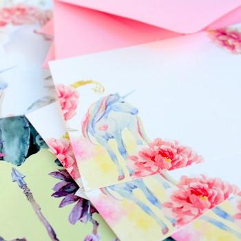 Paq. 10 tarjetas unicornio con sobre rosa
